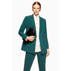 Topshop Longline Double Breasted Blazer green